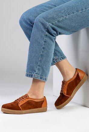 Pantofi casual din piele intoarsa nuanta maro cognac