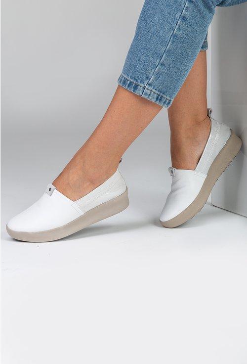 Pantofi casual din piele naturala albi cu portiuni argintii
