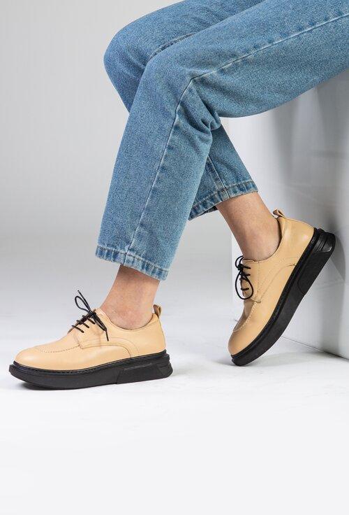 Pantofi casual din piele naturala bej