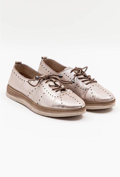 Pantofi casual din piele naturala bej sidefat