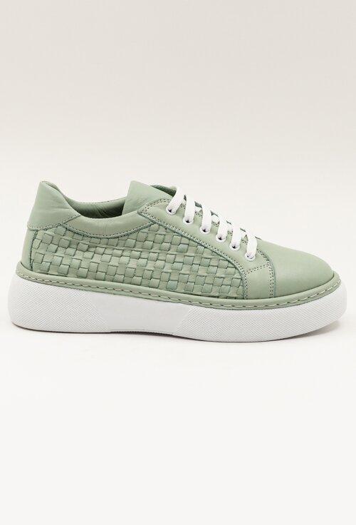 Pantofi casual din piele naturala verde deschis