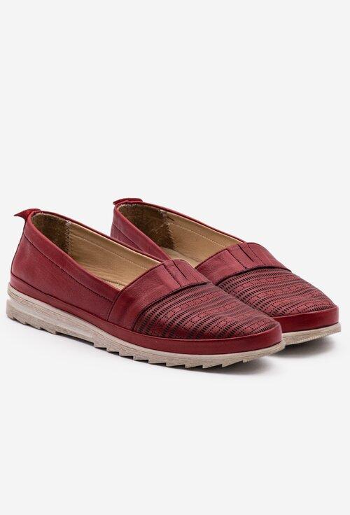 Pantofi casual din piele nuanta rosu inchis