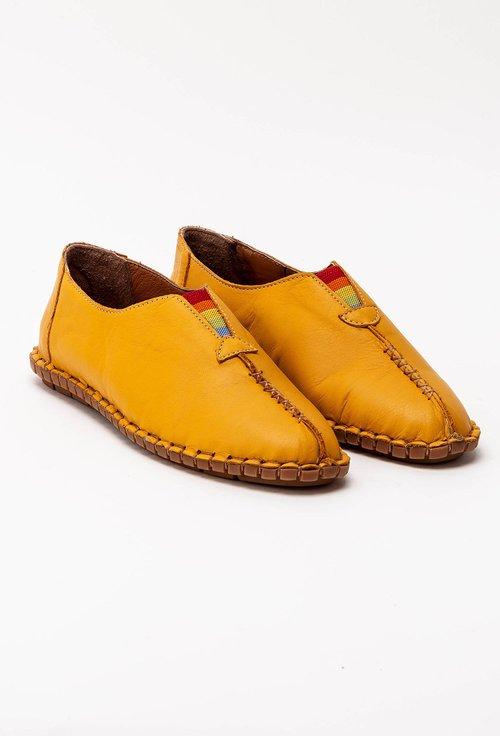Pantofi casual galben mustar din piele cu elastic colorat