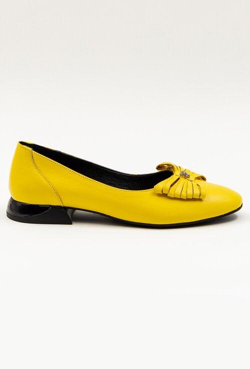 Pantofi casual galbeni din piele cu accesoriu funda