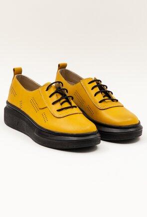 Pantofi casual galbeni din piele cu siret