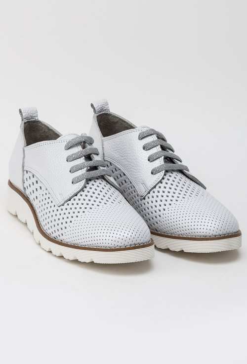 Pantofi casual gri deschis sidefat din piele naturala Midori