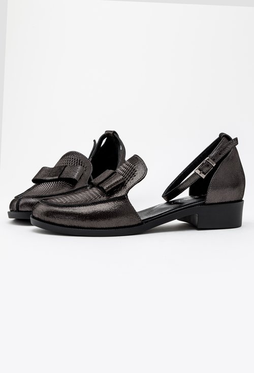 Pantofi casual gri inchis din piele naturala Izara