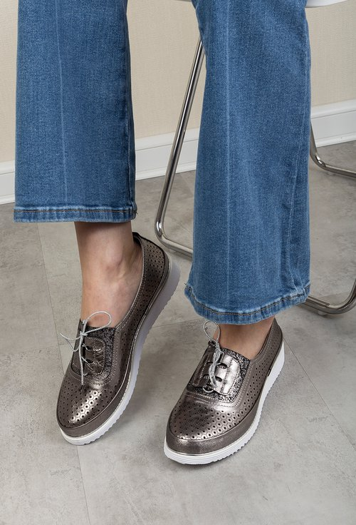 Pantofi casual gri metalizat din piele naturala Max
