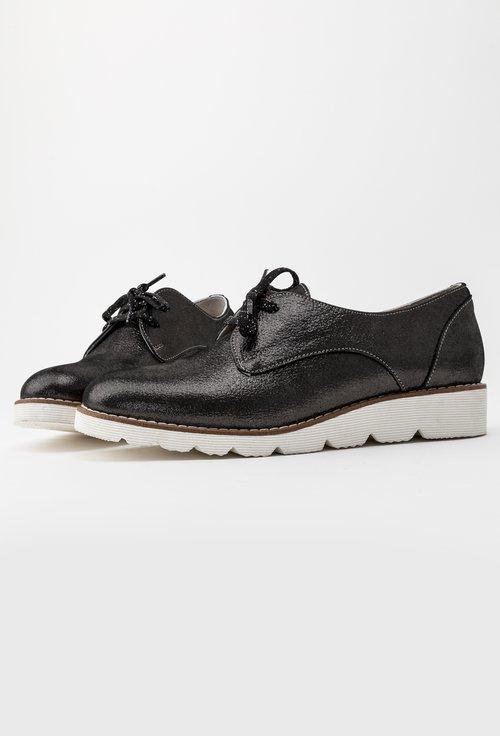 Pantofi casual gri metalizat din piele naturala Rosana