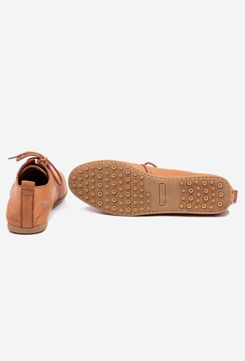 Pantofi casual maro deschis din piele naturala