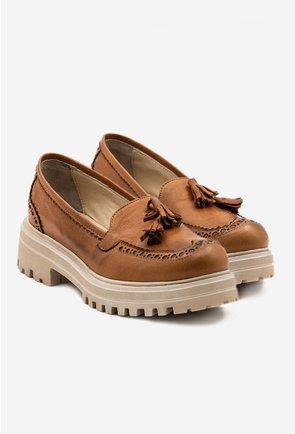 Pantofi casual maro din piele naturala