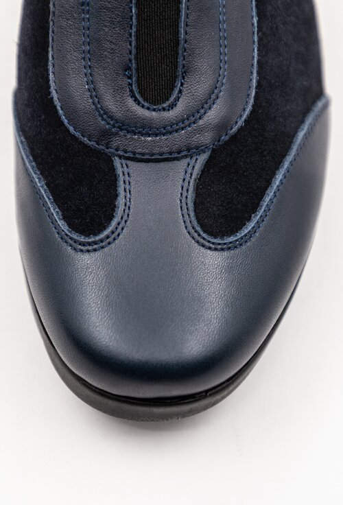 Pantofi casual navy din piele naturala box si intoarsa