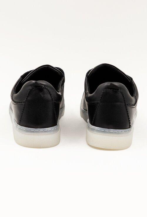 Pantofi casual negri din piele box cu talpa flexibila