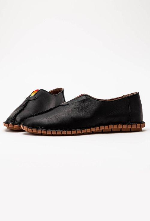 Pantofi casual negri din piele cu elastic colorat