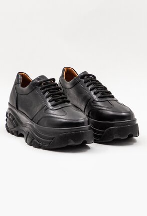 Pantofi casual negri din piele naturala cu talpa inalta