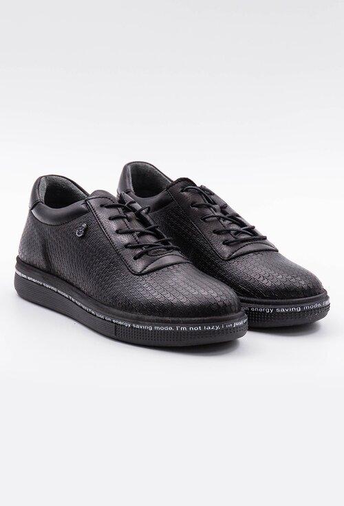Pantofi casual negri din piele naturala texturata