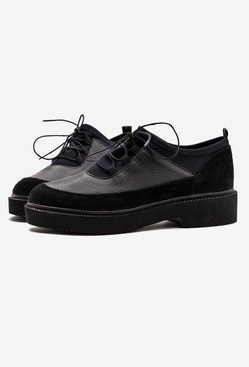 Pantofi casual negri din piele si material elastic