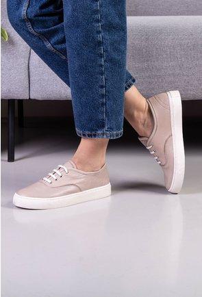 Pantofi casual nuanta taupe din piele naturala
