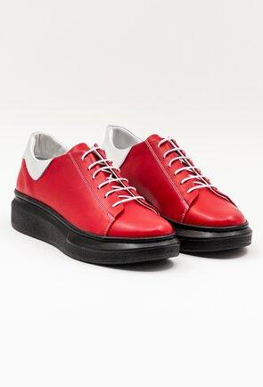 Pantofi casual rosii din piele naturala cu siret negru