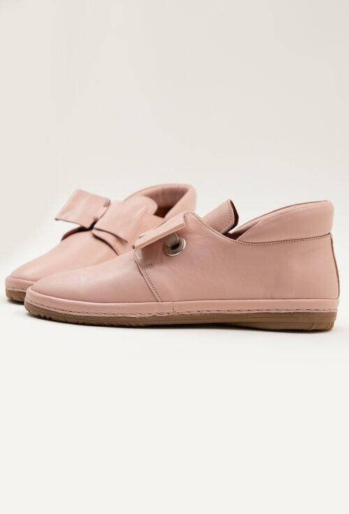 Pantofi casual roz pal din piele cu funda