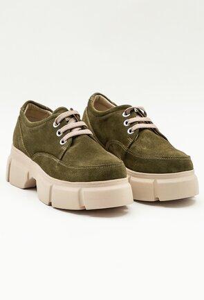 Pantofi casual verzi din piele intoarsa
