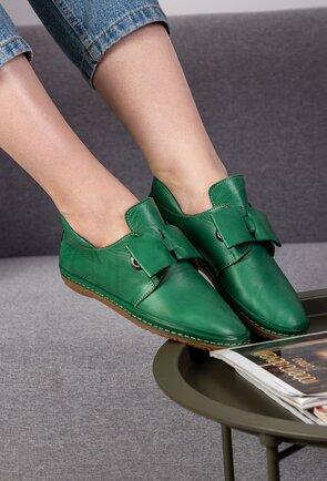 Pantofi casual verzi din piele naturala cu funda