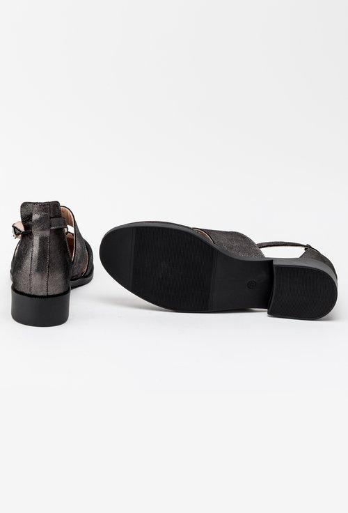Pantofi decupati gri sidefat din piele naturala Rina
