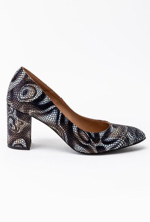 Pantofi din piele intoarsa cu imprimeu abstract gri