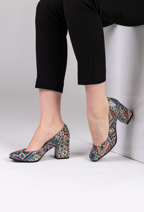 Pantofi din piele naturala cu imprimeu mozaic
