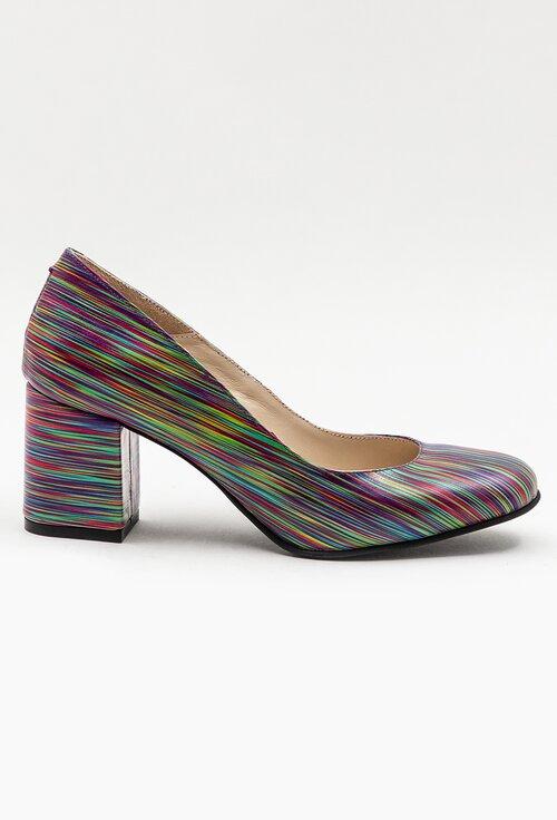 Pantofi din piele naturala cu imprimeu multicolor