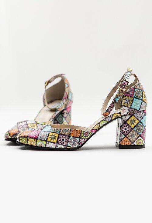 Pantofi din piele naturala cu imprimeu multicolor mozaic