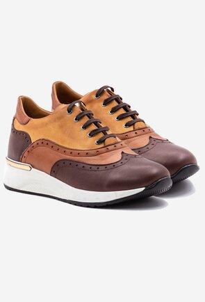 Pantofi din piele naturala in nuante de maro