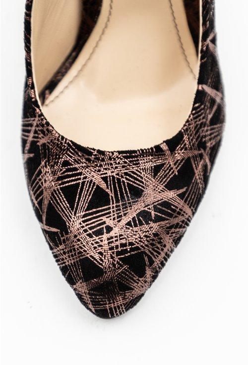 Pantofi din piele naturala intoarsa cu insertii sclipitoare maro