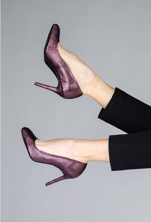 Pantofi din piele naturala mov cu insertii sclipitoare