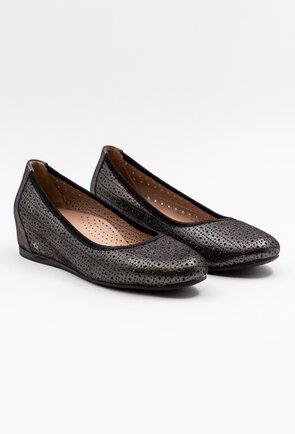 Pantofi din piele naturala nuanta gri metalizat