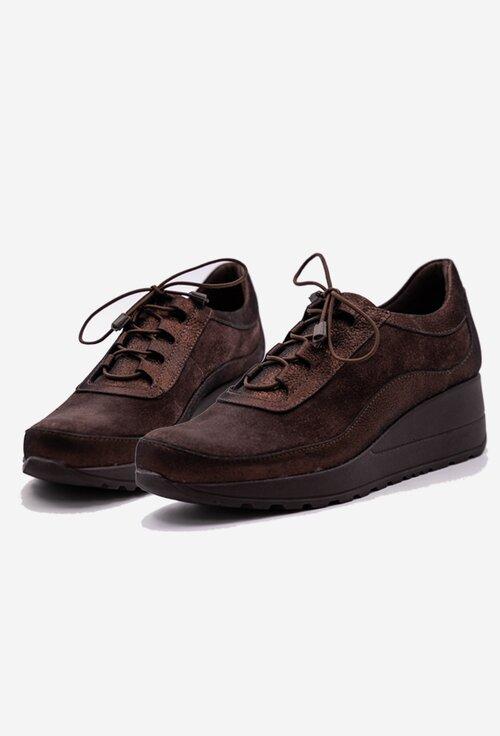 Pantofi din piele naturală nuanta maro cu insertii sclipitoare
