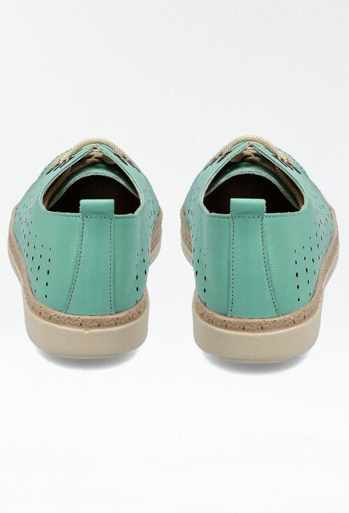 Pantofi din piele naturala nuanta turcoaz