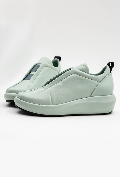 Pantofi din piele naturala nuanta verde pastelat