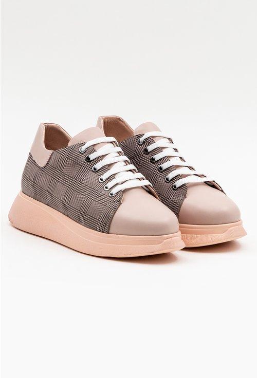 Pantofi din piele naturala roz pal cu imprimeu carouri