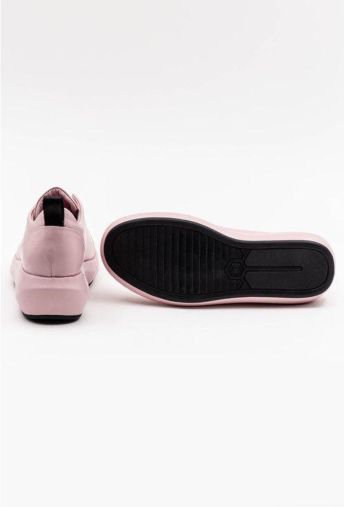 Pantofi din piele naturala roz pal cu platforma