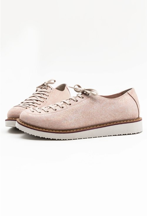 Pantofi din piele naturala roz pal cu siret