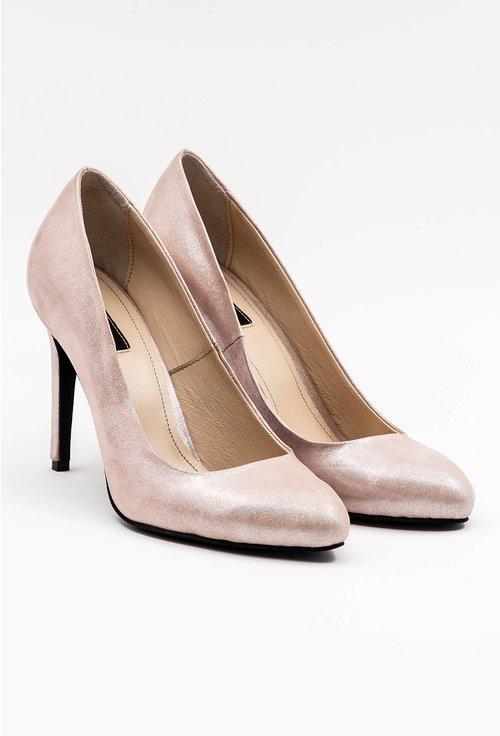Pantofi din piele naturala roze cu insertii sclipitoare