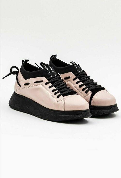 Pantofi din piele naturala si material textil roz cu negru