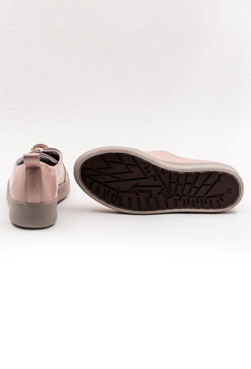 Pantofi din piele nuanta roz cu talpic buretat