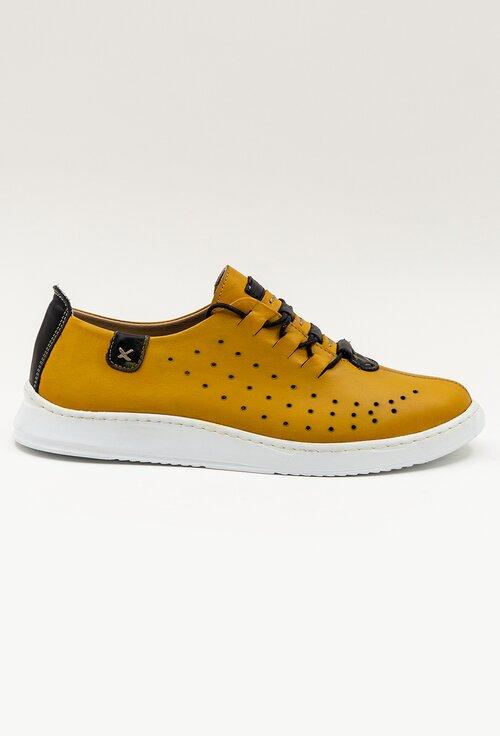 Pantofi galbeni din piele naturala cu detalii perforate