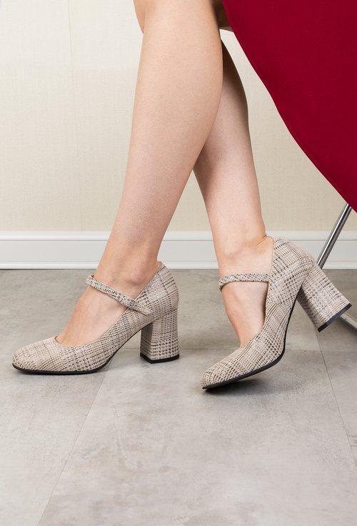 Pantofi grej din piele naturala intoarsa cu picatele Ronna