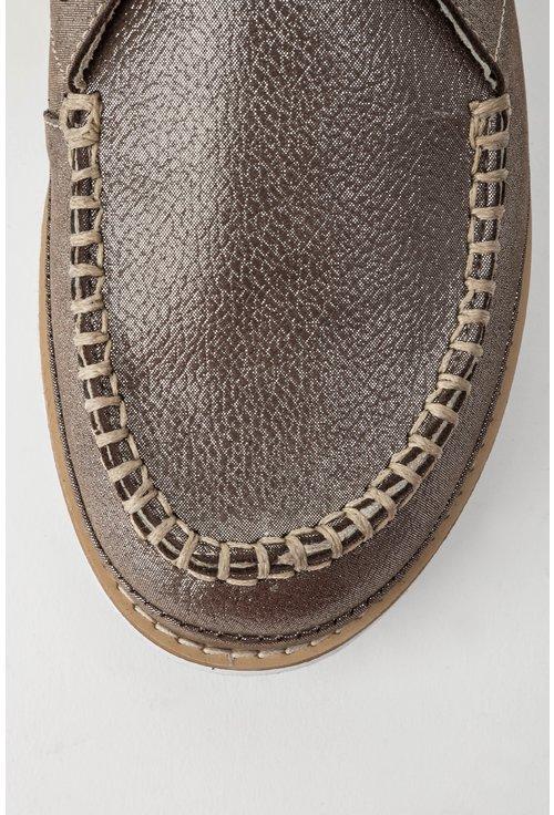 Pantofi grej metalizat din piele naturala Stacy