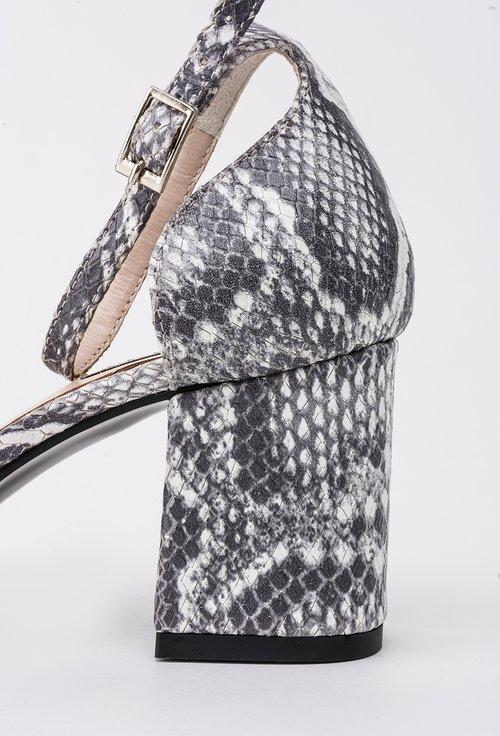 Pantofi gri cu alb din piele naturala cu imprimeu tip piele de reptila Yves