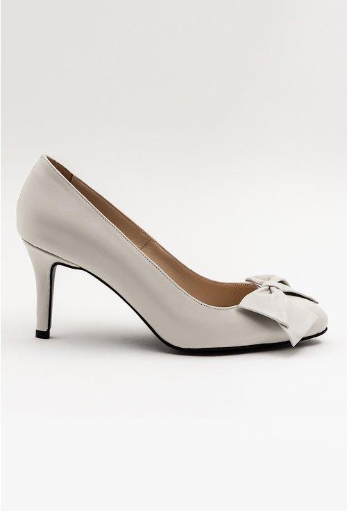 Pantofi gri din piele naturala cu funda