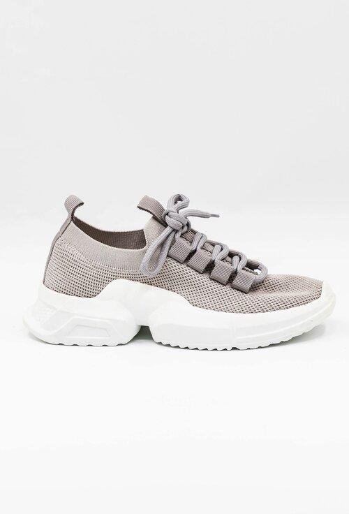 Pantofi gri material textil cu siret